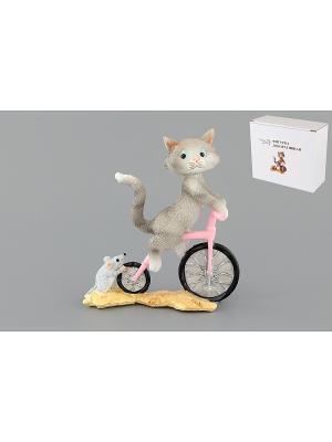 Фигурка декоративная Кот на велосипеде Elan Gallery. Цвет: серый