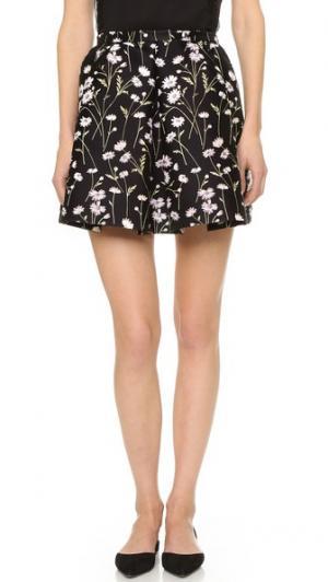 Плиссированная юбка Giambattista Valli. Цвет: черный/розовый/желтый