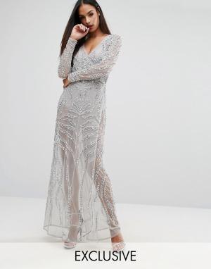 Starlet Декорированное платье макси с запахом. Цвет: серый