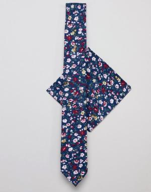 Burton Menswear Галстук и платок для нагрудного кармана темно-синего цвета с цветочным. Цвет: темно-синий