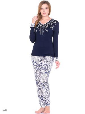Пижама женская NICOLETTA. Цвет: темно-синий