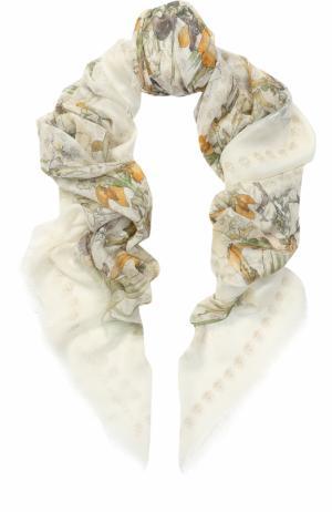 Шаль из шелка и вискозы с принтом Alexander McQueen. Цвет: светло-серый