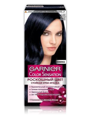 Стойкая крем-краска для волос Color Sensation, Роскошь цвета, оттенок 4.10, Ночной Сапфир, 110 мл Garnier. Цвет: черный