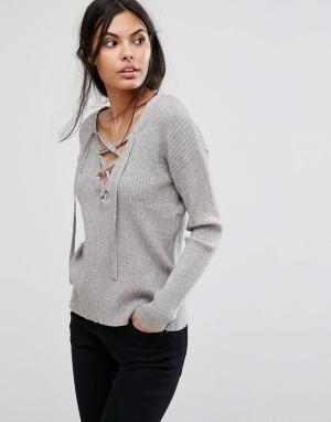 Pieces Трикотажная блузка с длинными рукавами Filla. Цвет: серый
