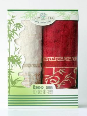 Набор махровых полотенец бамбук Домтекс. Цвет: белый, красный