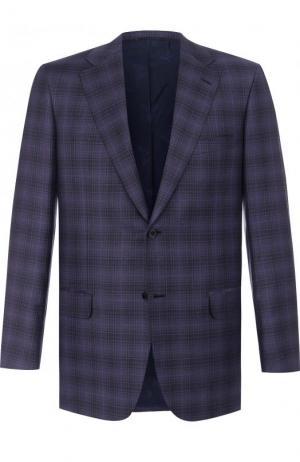 Однобортный шерстяной пиджак Brioni. Цвет: темно-фиолетовый