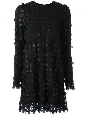 Платье-шифт с узором из кружков Carven. Цвет: чёрный