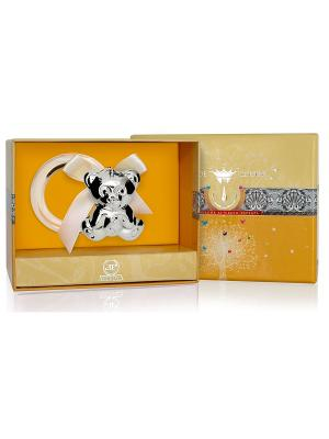 Погремушка Медведь  на кольце пр.925+футляр АргентА. Цвет: серебристый