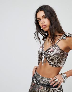 Ebonie n ivory Кроп-топ с леопардовым принтом Luxe. Цвет: мульти