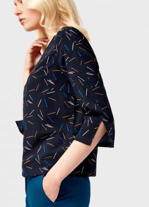 Блузка с принтом OSTIN. Цвет: темно-синий
