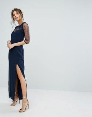 Elise Ryan Платье макси с отделкой из сетки в горошек и кружева. Цвет: темно-синий