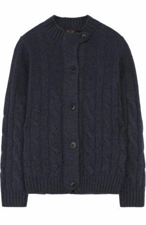 Кашемировый кардиган фактурной вязки Loro Piana. Цвет: темно-синий