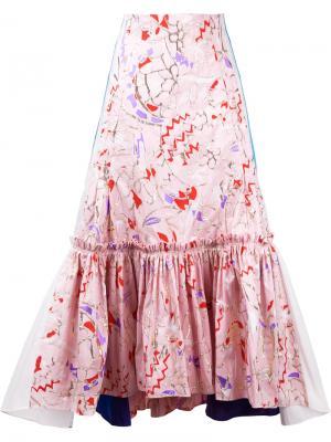 Юбка с абстрактным узором и складками Peter Pilotto. Цвет: розовый и фиолетовый