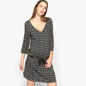 Платье для периода беременности из трикотажа La Redoute Collections. Цвет: рисунок/фон черный