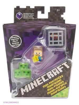 Набор из 3х фигурок персонажей Minecraft MATTEL GAMES. Цвет: зеленый, фиолетовый, желтый