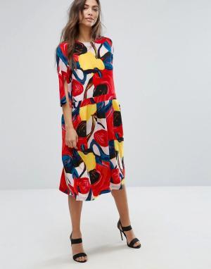 Orion Платье с цветочным принтом и юбкой в складку Connie. Цвет: мульти