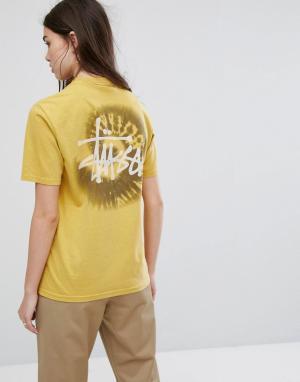 Stussy Свободная футболка с принтом. Цвет: желтый