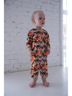 Комбинезон нательный для малышей Веселый малыш. Цвет: бежевый, коричневый, оранжевый