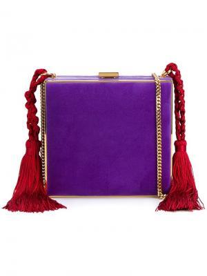 Квадратный клатч с кисточками Alessandra Rich. Цвет: розовый и фиолетовый