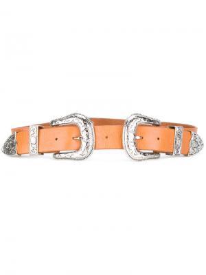 Ремень Bri с двумя пряжками B-Low The Belt. Цвет: коричневый