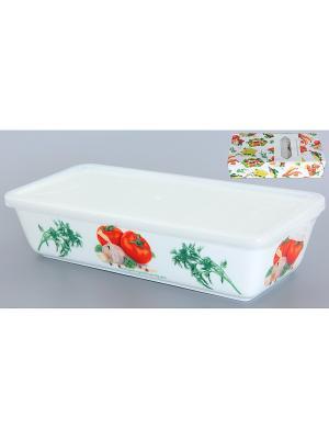 Блюдо для холодца Помидоры Elan Gallery. Цвет: белый, зеленый, красный