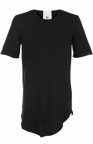 Удлиненная хлопковая футболка асимметричного кроя Lost&Found. Цвет: черный