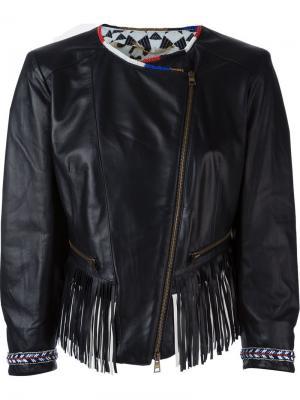 Укороченная кожаная куртка с бахромой Bazar Deluxe. Цвет: чёрный