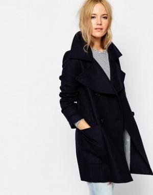 ASOS Двубортное пальто в стиле милитари с большим воротником. Цвет: темно-синий
