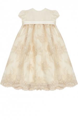 Платье для крещения с кружевом Caf. Цвет: кремовый