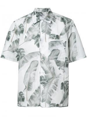 Рубашка с принтом перьев Oamc. Цвет: белый