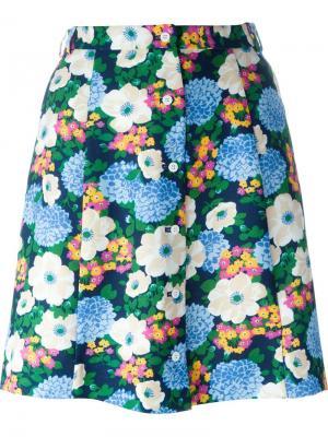 Юбка А-силуэта с цветочным принтом Carven. Цвет: многоцветный