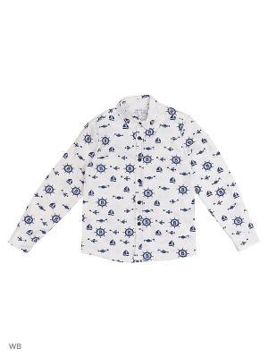 Рубашка  для мальчика Bonito kids. Цвет: белый, синий