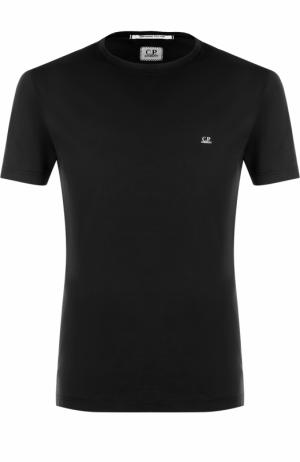 Хлопковая футболка с принтом на спине C.P. Company. Цвет: черный