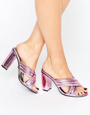 Daisy Street Розовые сабо цвета металлик. Цвет: розовый