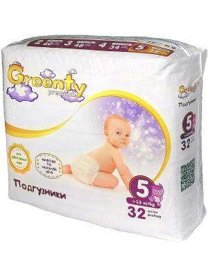 Одноразовые детские подгузники GREENTY 5 (+13 кг) 32 шт.. Цвет: белый