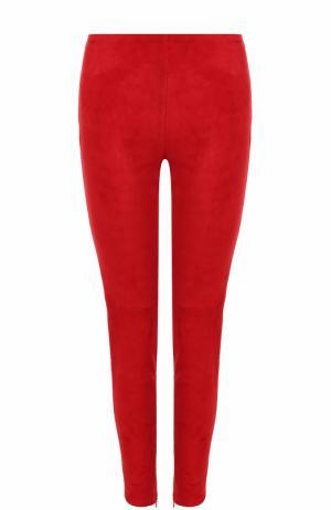 Замшевые брюки-скинни Dolce & Gabbana. Цвет: красный