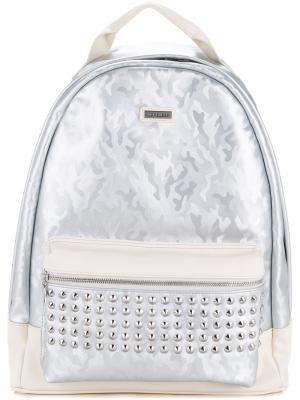 Рюкзак с камуфляжным рисунком и заклепками Loveless. Цвет: белый
