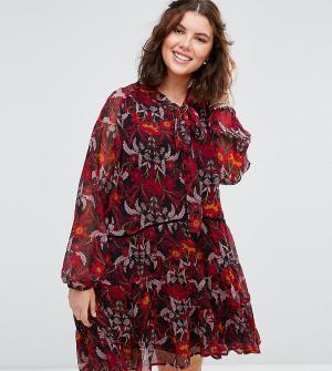 Alice & You Свободное платье с длинными рукавами и завязкой на шее. Цвет: мульти