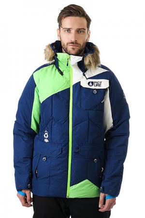 Куртка  Think Dark Blue Green Picture Organic. Цвет: синий,белый,зеленый