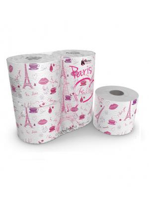 Туалетная бумага Paris серия Kartika, 3-х слойная, 4 рулона по 200 листов, 20.4 м/рулон World Cart. Цвет: белый