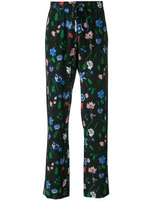 Floral drawstring palazzo pants Markus Lupfer. Цвет: чёрный