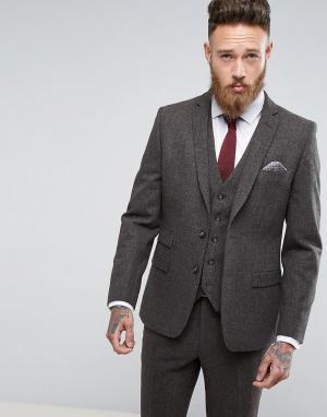 MOSS BROS Коричневый приталенный пиджак из твида London. Цвет: коричневый