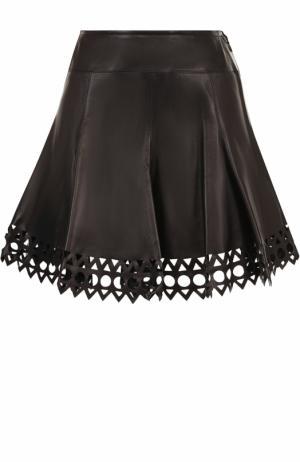 Кожаная мини-юбка с перфорацией Alaia. Цвет: черный