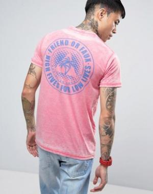 Friend or Faux Футболка с принтом на спине Santa Monica. Цвет: розовый