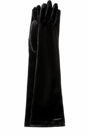 Удлиненные бархатные перчатки Agnelle. Цвет: черный