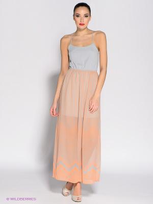 Платье Eunishop. Цвет: серый, персиковый