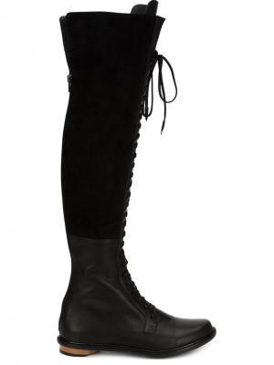 Ботфорты на шнуровке Valas. Цвет: чёрный