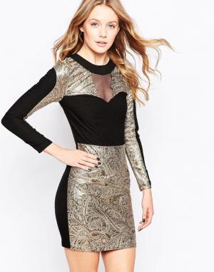 Lashes of London Жаккардовое платье с контрастным воротником. Цвет: мульти