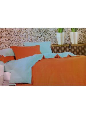 Комплект постельного белья евро Boris. Цвет: оранжевый, голубой