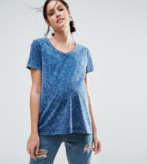 ASOS Maternity Мраморная футболка для беременных. Цвет: синий
